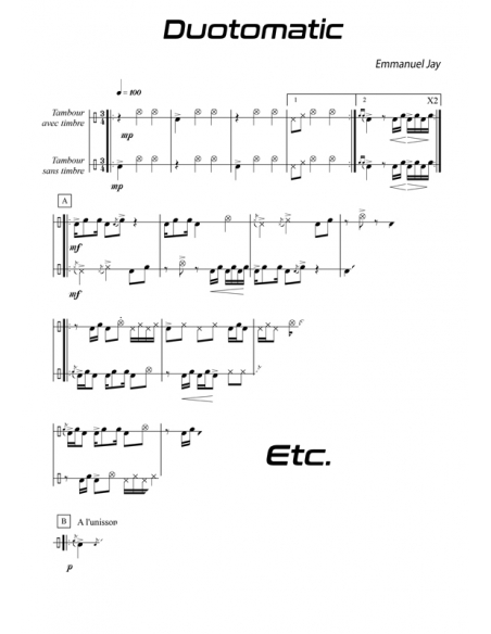 Duotomatic - 15 easy pieces for drum - Emmanuel JAY