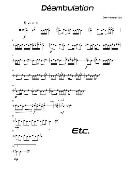 Déambulation - 15 easy pieces for drum - Emmanuel JAY