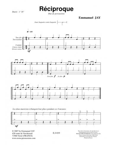 Réciproque - Percussion Duet - Emmanuel JAY
