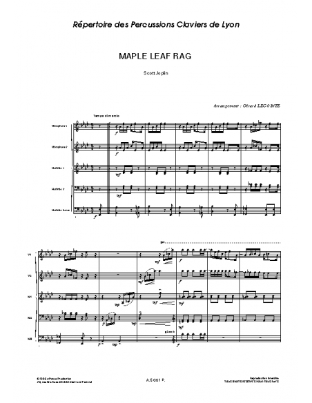 Maple Leaf Rag - Scott JOPLIN (Arr. Gérard LECOINTE)